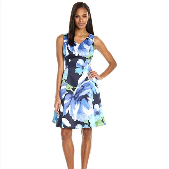 Ellen Tracy Dresses & Skirts - NWT floral satin black + blue jumper party dress 4